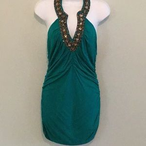 Boston Proper Tropical Green Bedazzled Halter Top